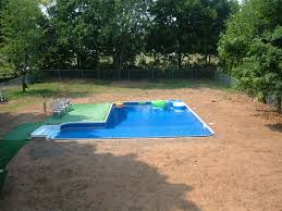 Deep Backyard Pool by L Shape Pool And Volley Ball