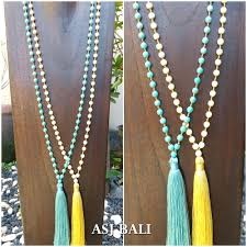 handmade necklace design images Pendant tassels necklaces with agate stone beads handmade jewelry jpg
