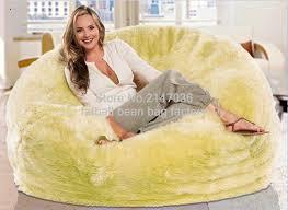 large lemon or white or cream shaggy faux fur long fur beanbag