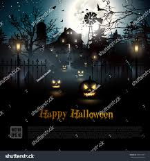 halloween picture background scary graveyard farmhouse woods halloween background stock vector