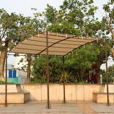 Gazebo With Awning Sand Ikayaa 3 2 5 2 5m Metal Patio Garden Gazebo Outdoor Canopy