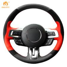 steering wheel mustang black suede leather steering wheel cover wrap for ford mustang