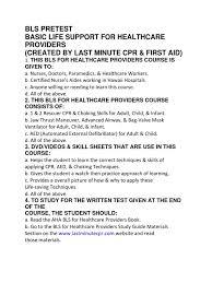 bls pretest cardiopulmonary resuscitation medicine