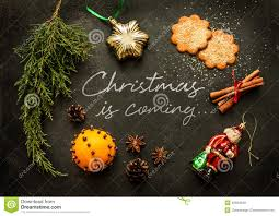 christmas is coming poster or postcard design stock photo