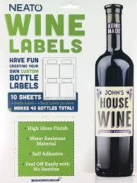neato blank wine bottle labels 40 pack vinyl