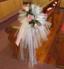 Church Decorations For Wedding Tulle Pew Bows Church Wedding Decorations