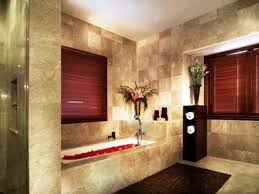 interior modern minimalis master bathroom design bold red window