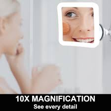 fancii led lighted magnifying makeup mirror 10x with suction mount