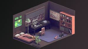 my room voxel art game design 2d and illustrations