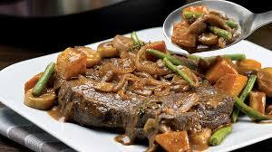 cuisiner la palette de porc rôti de palette au vin et aux légumes racines recettes iga