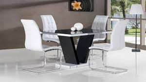 Black Glass High Gloss Dining Table And  White ChairsHomegenies - Black dining table for 4
