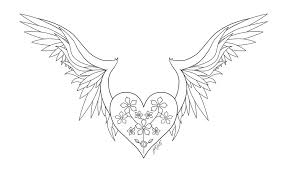 coloring pages hearts wings roses coloring