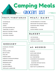 Menu Planner With Grocery List Template Camping Grocery List For Weekend Camping Food Menu Camping Food