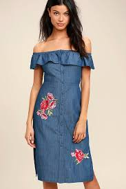 cute blue chambray dress off the shoulder chambray dress