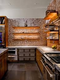 backsplashes metallic tile backsplash wood open shelves white