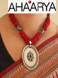indian beads necklace images Red cotton beads tribal necklace indian jewelry jpg