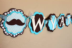 little man mustache baby shower little man mustache its a boy or name banner brown polka dot cream