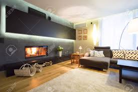 modern fireplace in cozy luxury drawing room stock photo picture