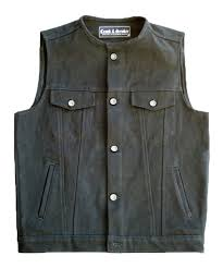 mc jacket collarless black denim vest crank u0026 stroker