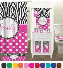 Bathroom Accessory Sets With Shower Curtain by Zebra Print U0026 Polka Dots Bathroom Accessories Set Personalized