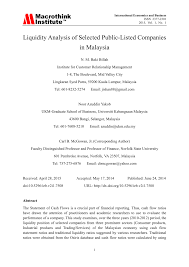 liquidity analysis of selected public listed companies in malaysia