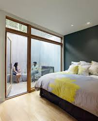 small outdoor spaces bedroom modern with yellow frosted window