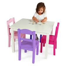 tot tutors forever white table and 4 pink purple chairs set toys