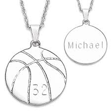 personalized basketball necklace silvertone engraved basketball necklace 38853 limoges jewelry