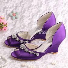 wedding shoes purple 20 colors custom handmade peep toe wedge heel wedding shoes purple