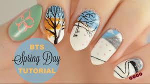 bts springday inspired nail art tutorial simple nail art