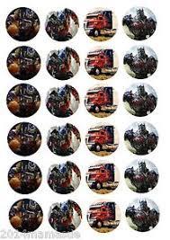 24 x transformers rice paper birthday cake toppers 24 x optimus prime transformer cupcake toppers wafer card