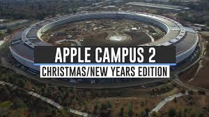 spaceship campus apple overhead drone footage showing the construction progress of the