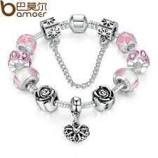 bracelet chain heart silver images Bamoer 4colors original silver pink heart charm bracelet with jpg