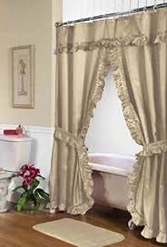 Double Swag Shower Curtain With Valance Shower Curtains With Valance Amazon Com