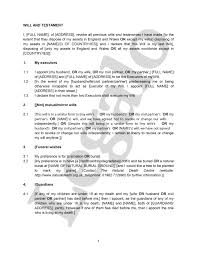 Template Wills by Standard Will Template For Writing Your Diy Will