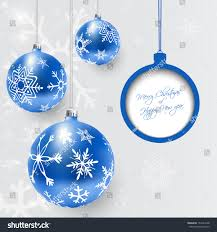 card blue decorated balls white stock vector 154194188