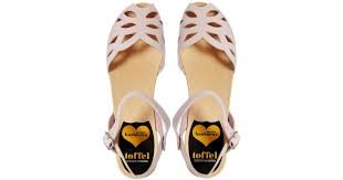 swedish hasbeens pink ornament flat sandals in pink lyst