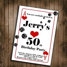 playing card birthday party invitation invitations for guys