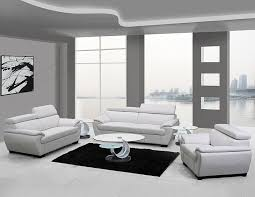 Genuine Leather Living Room Sets U4571 White Genuine Leather Living Room Set Furniture
