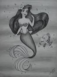 mermaid images ariel flounder drawing hd