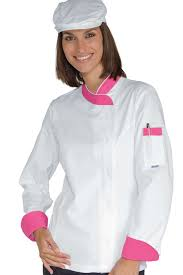 chef cuisine femme veste chef femme snaps blanc fuchsia 100 coton