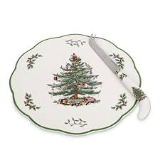 amazon com spode christmas tree appetizer plate with cheese knife