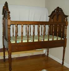 antique victorian baby crib walnut frame child bed with custom