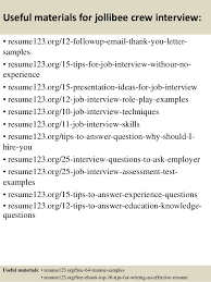 Resume Sample For Interview by Top 8 Jollibee Crew Resume Samples