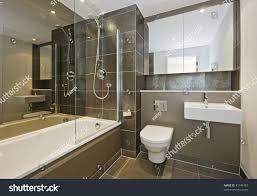 luxury bathroom white suite dark brown stock photo 45746707