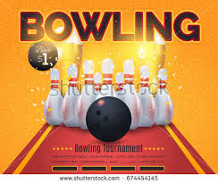 bowling party flyer template great birthday stock vector 448219288