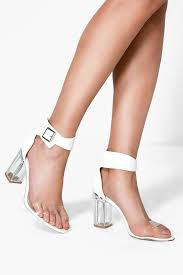 boohoo laura clear block heel two part fashion pinterest
