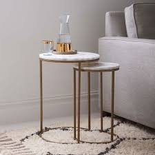 marble top nesting tables marble round nesting side table set of 2 west elm