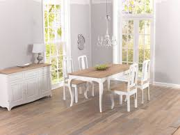 chateau french antique ivory u0026 wood dining table with four chairs