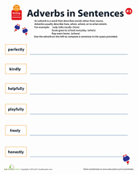 all about adverbs writing sentences 1 worksheet education com